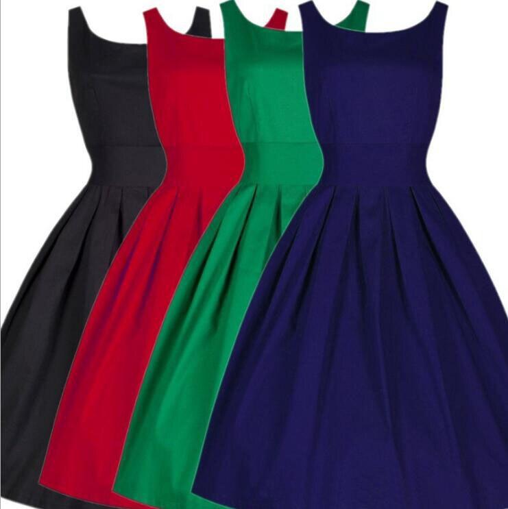 MSAISS Marca Vestido de Las Mujeres Negro Rojo Verano Audrey Hepburn 50 s 60 s V