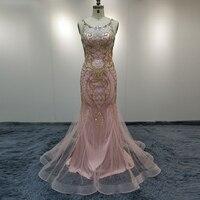 Custom Luxury Rhinestone Dubai Long Prom Dresses Pink Real Photo Plus Size Crystal Beaded Pearl Evening Dress Vestido De Festa