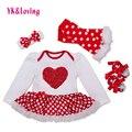 Día de san valentín de algodón recién nacido baby girl dress set polka dot longsleeve ropa del festival infantil de las muchachas del bebé viste el envío libre