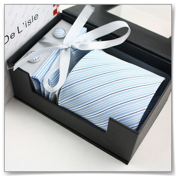 2012 male gift south korean silk formal business tie cufflinks handkerchief exquisite gift set f11