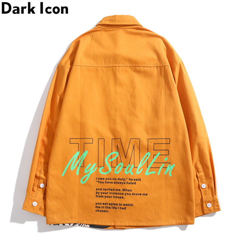 Dark Icon Printed Hip Hop Shirt Men Long Sleeve Turn down Collar Street Dance Men 39 s Shirt 3 Colors in Casual Shirts from Men 39 s Clothing