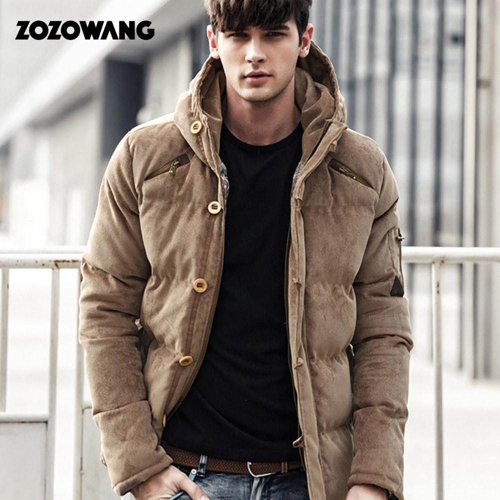 ZOZOWANG Velvet Men Winter Jacket Coat Fashion Quality Cotton Padded Windproof Thick Warm Soft Brand Clothing Hooded Male   Parkas