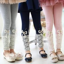 2015 spring korean style kid's clothes girls solid lace bow baby kids mm legging trousers lace girls pants