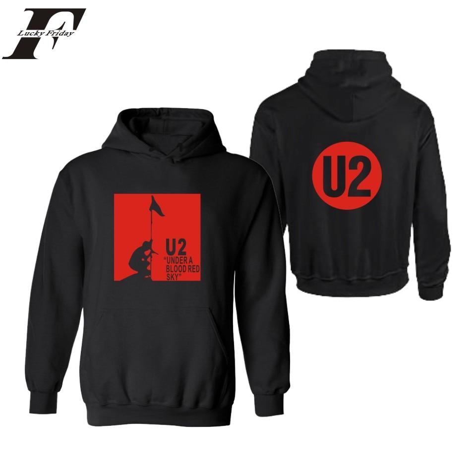 LUCKYFRIDAYF U2 Mens Hoodies And Sweatshirts Hip Hop Irish Popular Rock Band Casual Hooded Sweatshirt Men Fashion Black Clothes