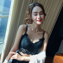 Fashion Sexy Lace Tube Top Embroidered Lace Bras Sexy Back Cross Hollow Strap Tube Top Underwear zip back lace insert peplum top