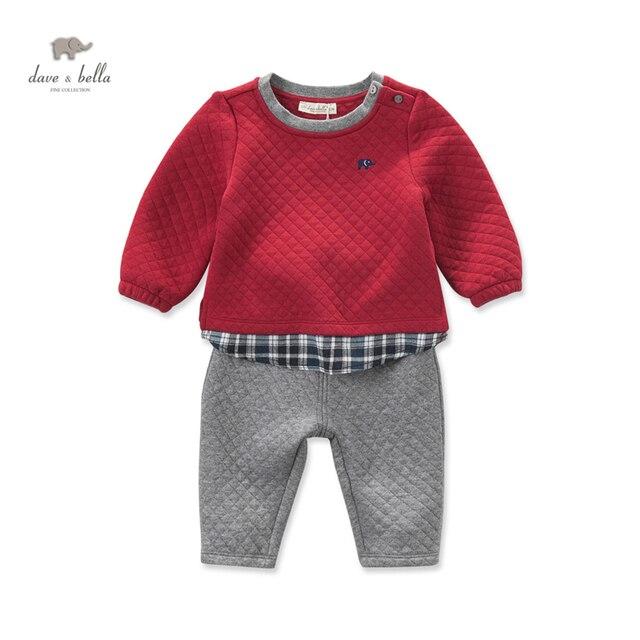 DB4072 дэйв белла осень мальчиков красный комплект одежды лоскутное комплект одежды