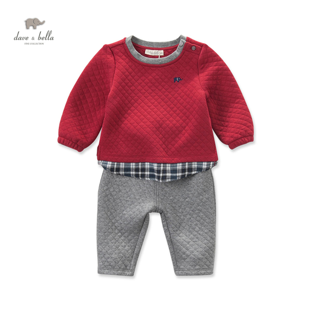 DB4072 dave bella autumn baby boys red clothing set patchwork clothing set