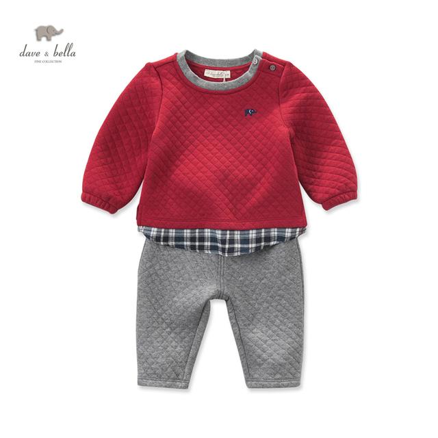 DB4072 de dave bella otoño de los bebés de la ropa de color rojo ropa de retazos conjunto