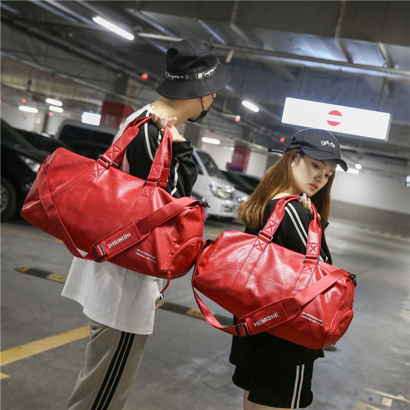 Unisex Multifunction PU Travel Bag 2018 Cabin Luggage Women Travel Bags Large Capacity Black Red Reistas Fashion Duffle Bag