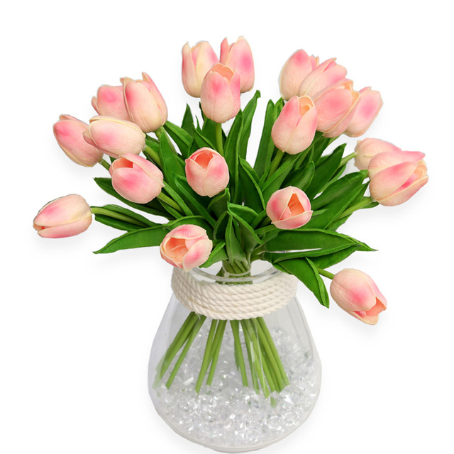 32pcs/Lot PU Mini Tulips Artificial Flower Real Touch Flowers For Wedding Party Home Decorative Fake Flower