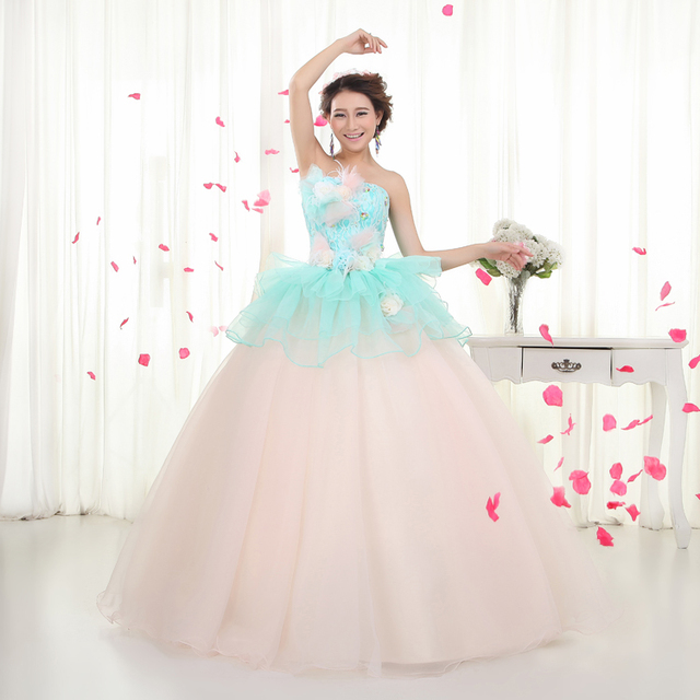 Plus Size Bridal Gowns Colorful Wedding Dress Light Blue Pink