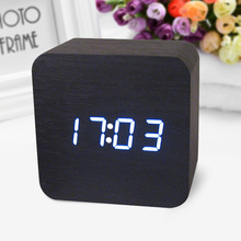 Wooden Digital LED Desk Alarm Clock Acoustic Control Sensing Clock desktop clock electronic digital clock reloj despertador