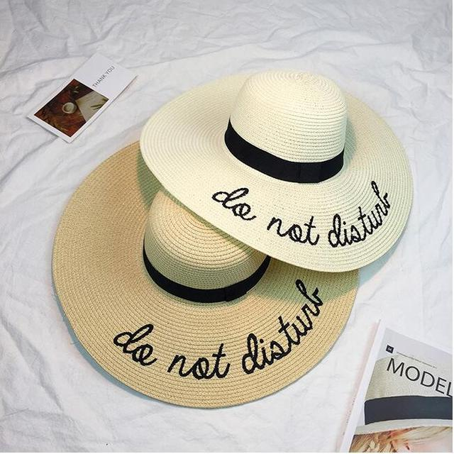 2018 Letter Embroidery do not disturb girl straw hat summer wide brim beach  hat for women Honeymoon foldable Nautical floppy hat 51da3c8b772d