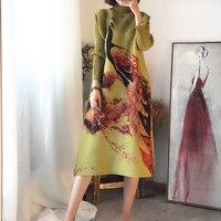 Changpleat women Printed dress 2017 new Miyak Pleated Fashion design loose Large size Vintage long sleeve Turtleneck dresses D9