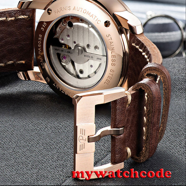 9744987c0 38mm Parnis coffee dial rose golden case Sapphire glass Automatic Mens  watch 824