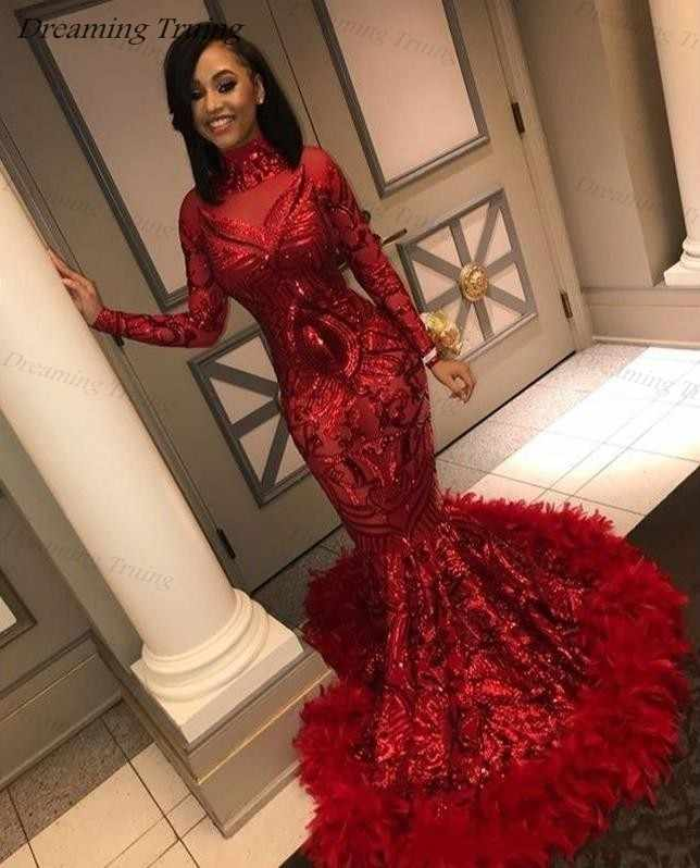 b55c9a251d73 Black Girls Graduation Prom Dresses Long High Neck Glitter Red Sequins  Mermaid Party Gown With Feathers