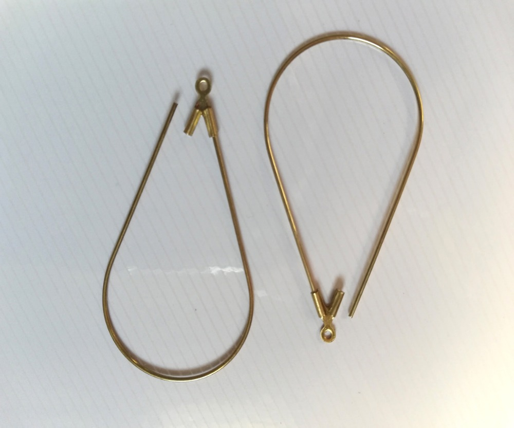 1 Pair 925 Sterling Silver Earring Fish Hook Ear Wires Findings 26mm 2pcs