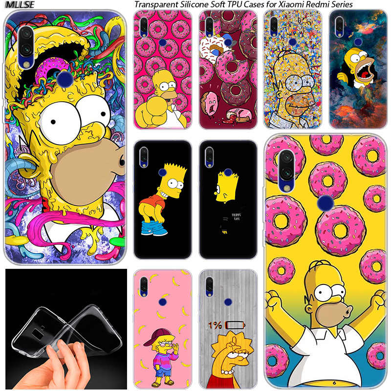 Hot Simpsons Soft Silicone Case for Xiaomi Redmi K20 7 7A 5 5Plus 6 6A S2 Note 8 7 6 5 Pro Fashion Cover