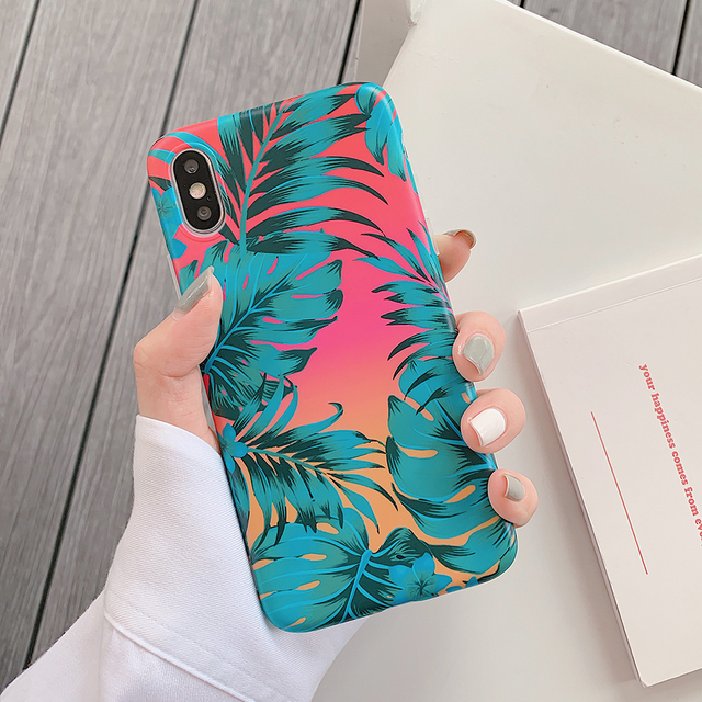 Hot Art Flowers & Banana Leaf Phone Case For iPhone 12 Mini 11 Pro Max XR XS Max 6 7 8 Plus X  Soft IMD Phone Back Cover Cases 2