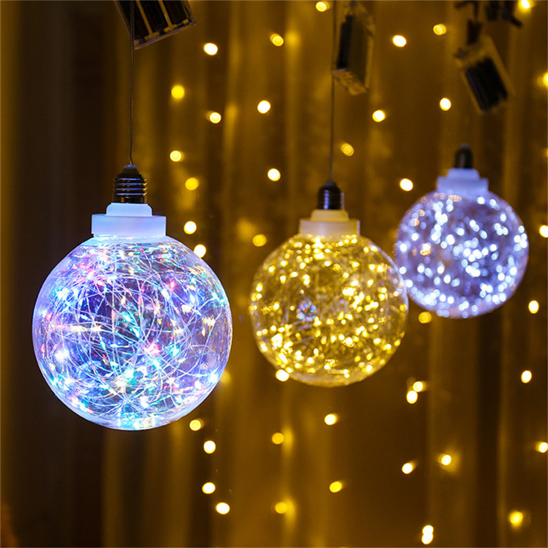 Globe Lamp LED Copper Wire Clear Plastic Bulb Battery Powered Decorative Indoor Garland For Xmas Party Wedding Bedroom Baby Room
