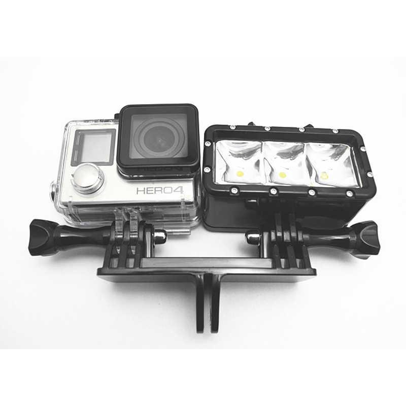 Due Telecamere Adattatore di Montaggio A Doppia Staffa di Montaggio di Base Sessione Adattatore Monopiede Supporto Del Basamento Per Gopro Hero7 6 5 4 3 + 3 Xiaomiyi