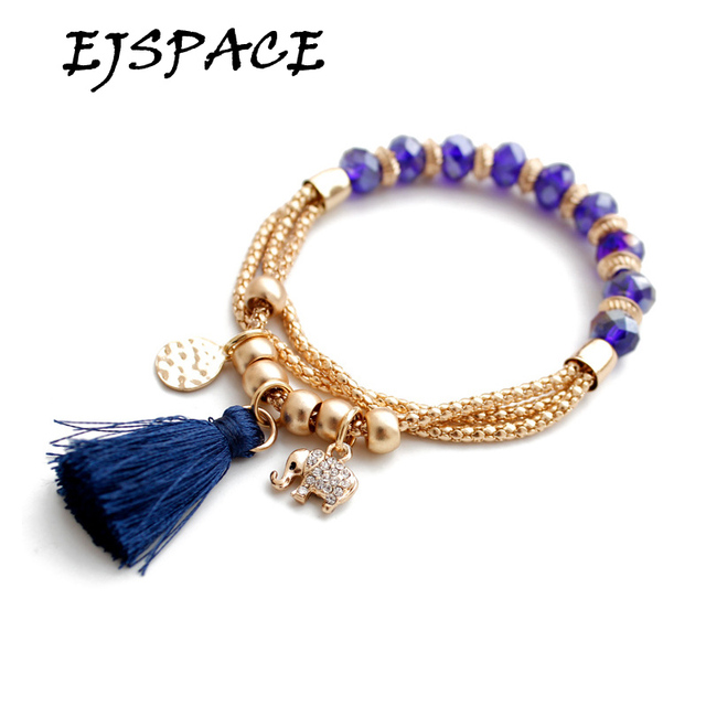 New Fashion Jewelry Gold Bracelets Bangles Purple Bead Elephant Tels Chain Bracelet Round Hollow Charm