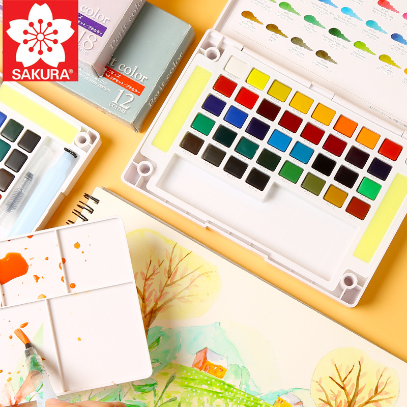 Sakura Solid Watercolor Paint Set Student Child Portable Painted Pigment Beginner Hand Painted Painting Tools  Art Supplies