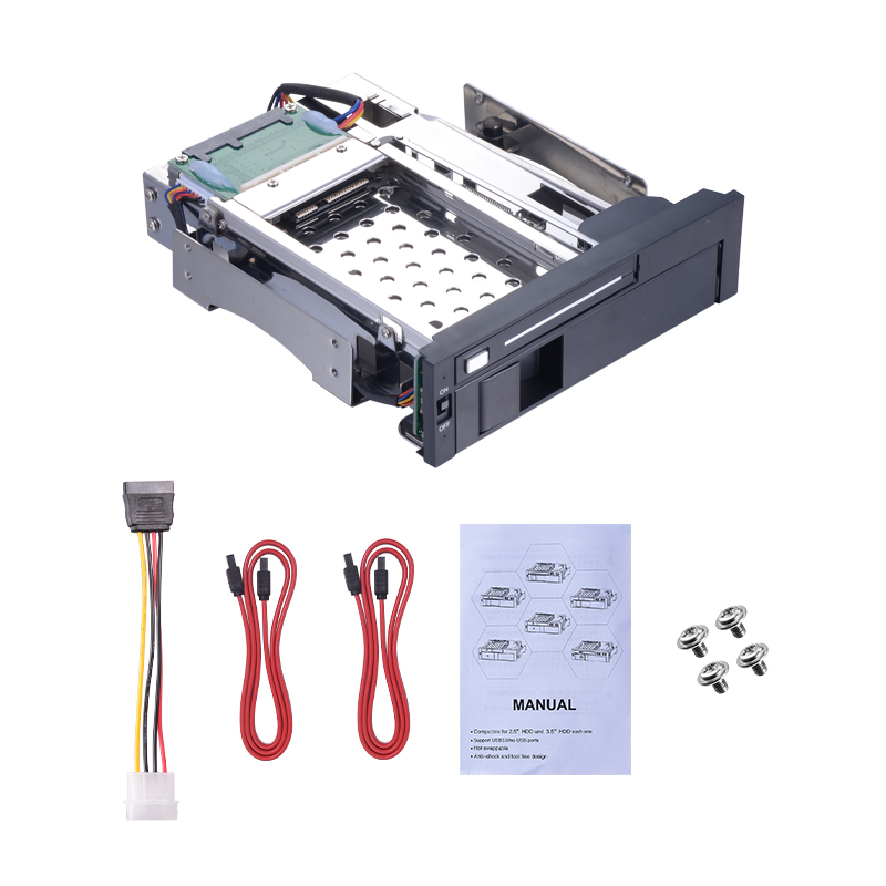 ST7221  5.25inch SATA multi-function enclosure 2.5 HDD/SSD case and 3.5 HDD bracket hot swap  HDD Mobile Rack 4 bay 2 5 inch internal sata hdd ssd aluminum mobile rack with hot swap support 7mm 9 5mm 15mm hdd ssd enclosure with lock
