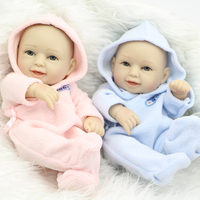 Boy And Girl Babies Dolls Reborn 11 Inch Full Silicone Soft Lifelike Newborn Doll Twins With Painted Hair Kids Birthday Gift