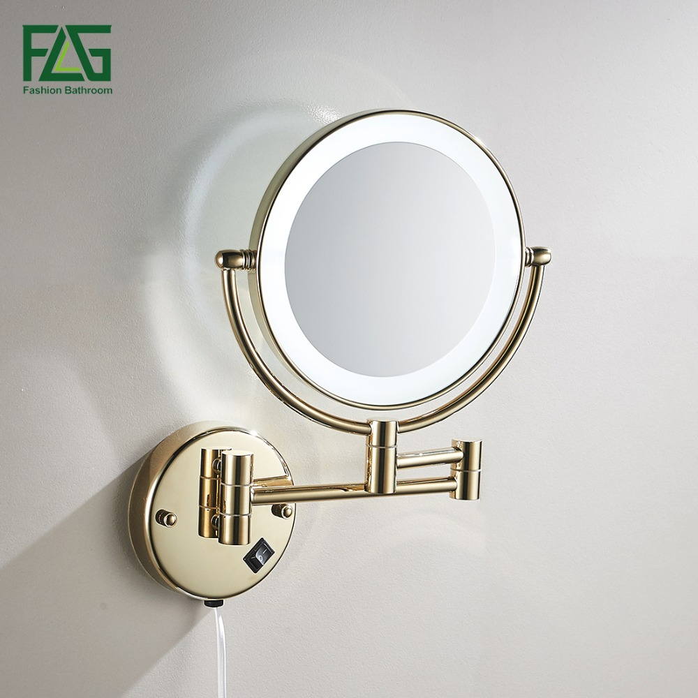"Golden Brass LED Light Makeup Mirrors 8"" Round Dual Sides 3X /1X Mirrors Bathroom Cosmetic Mirror Wall Mount Magnifying Mirror 1"