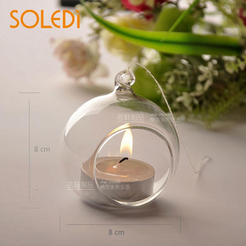 SOLEDI European Designed Hanging Crystal Glass Candle Holder Home Decor Candlestick Birthday