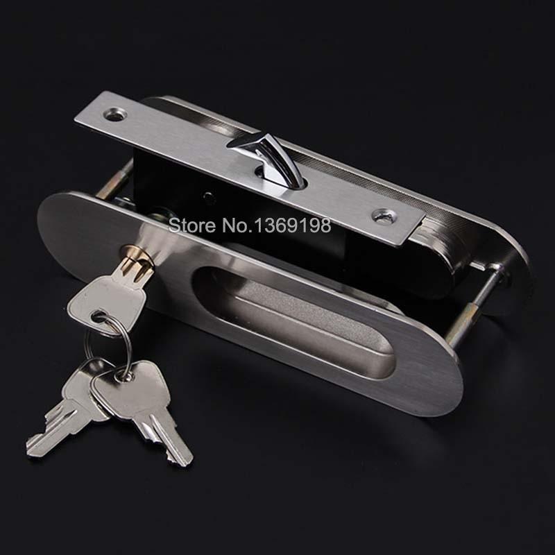 HOT 6PCS Security Sliding Door Lock Mortise Hook Bolt Lock Sliding Wood Barn Door Lock Set Security Door Lock Furniture Hardware