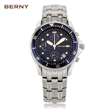 BERNY Role Luxury Watch Mens Multifunction Stop Watches Stainless Steel Waterproof Sports Wristwatches Military Male Clock Hands