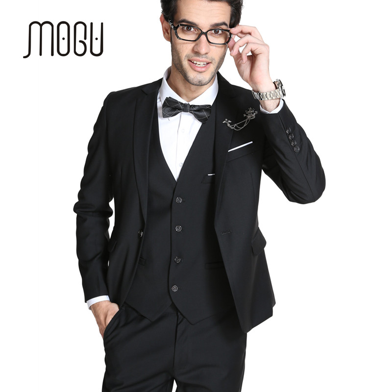 Mogu 2017 New Arrival Mens Slim Fit Suit 3 Piece Suits Wedding Groom Blazer Vest Pants Large Size For Men In From S Clothing
