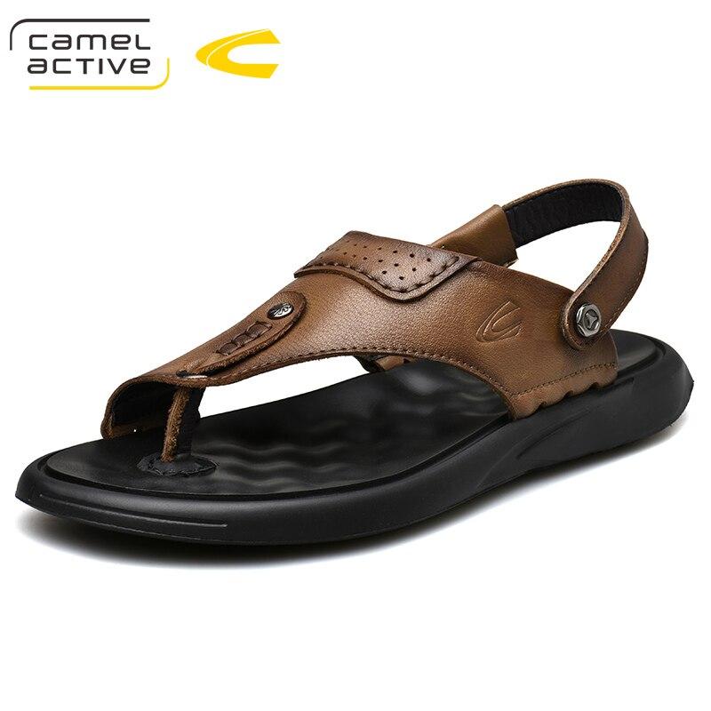 cáqui Macio De Sapatos Dos Marrom Genuíno Homens Texturizado Couro Active 2019 Confortáveis Camel Ocasional Sandálias Novo Elástico vBa7xqw0