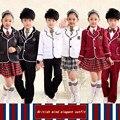 Новая Осень Дети костюмы мальчиков и девочек школьная форма свитер куртка студент класс обслуживания детские Англия костюм танец Набор