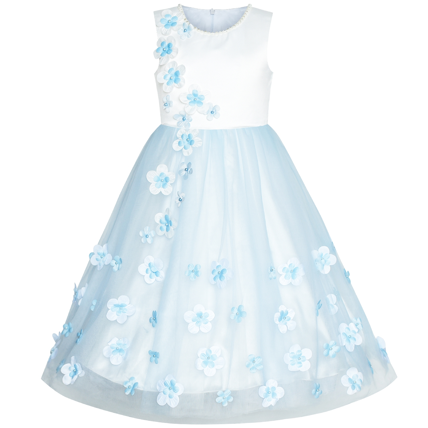 Flower Girls Dress Blue Petals Wedding Bridesmaid Birthday Party 2019 Summer Princess Dresses Girl Clothes Pageant Sundress girls dress blue flower bow tie tulle party princess 2018 summer wedding dresses kids clothes size 4 12 pageant sundress