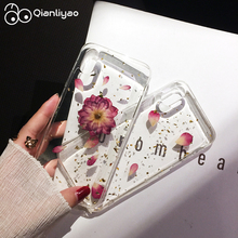 Qianliyao Real Dried Flower Phone Case For iPhone X XS Max XR 6 6S 7 8 Plus Rose Floral petal Transparent Soft TPU Back Cover