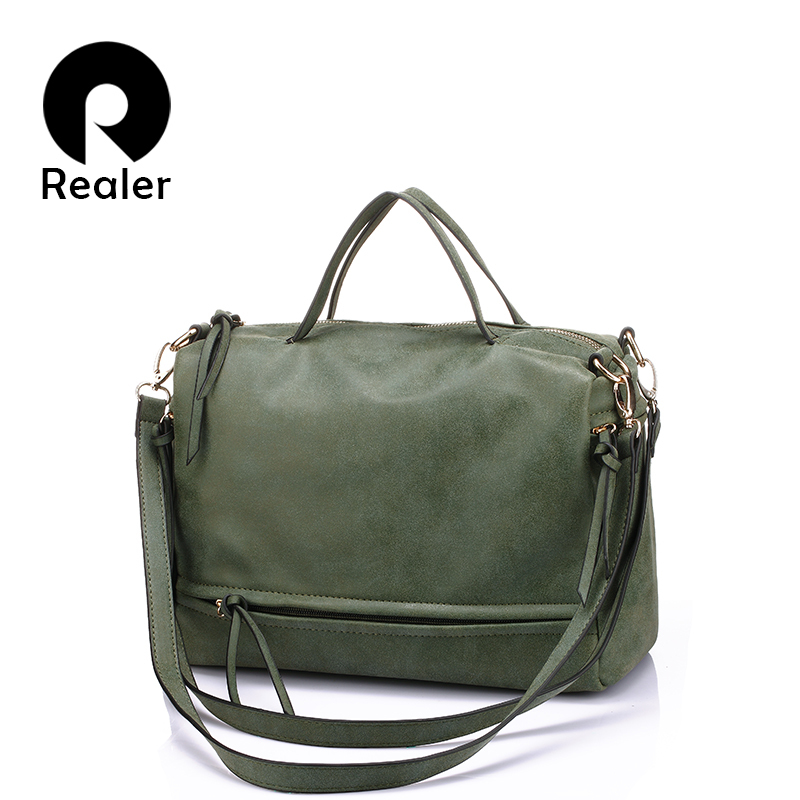 Realer soft box women handbag with two straps high quality PU leather tote bag retro shoulder messenger bags green/gray/blue/red high quality doctor dr who tardis police box backpack bag call box pu leather with tag female man shoulder bag