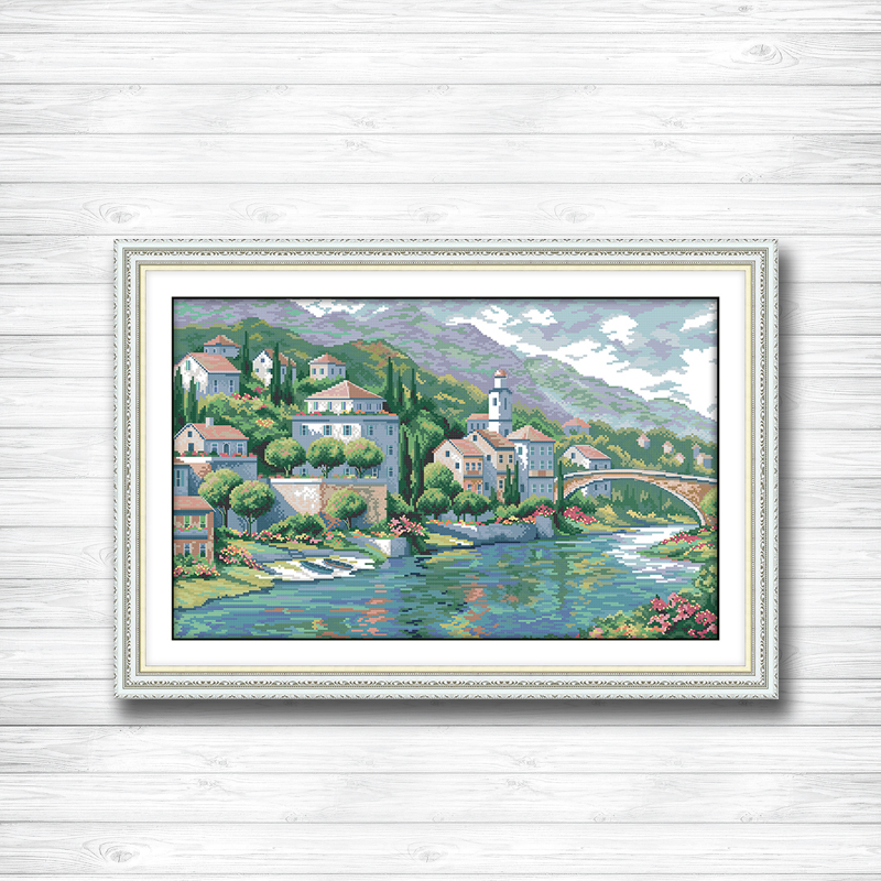 River town scenery river diy painting dmc 14CT 11CT counted cross stitch Needlework Set Embroidery kits chinese cross stitch
