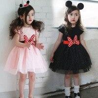 Vestido da menina de Verão 2-6 Anos Grande Arco Cinto de Mini Vestido Vestidos Rosa Cor Preta Do Partido Dos Miúdos Vestido O-pescoço aniversários de Roupas
