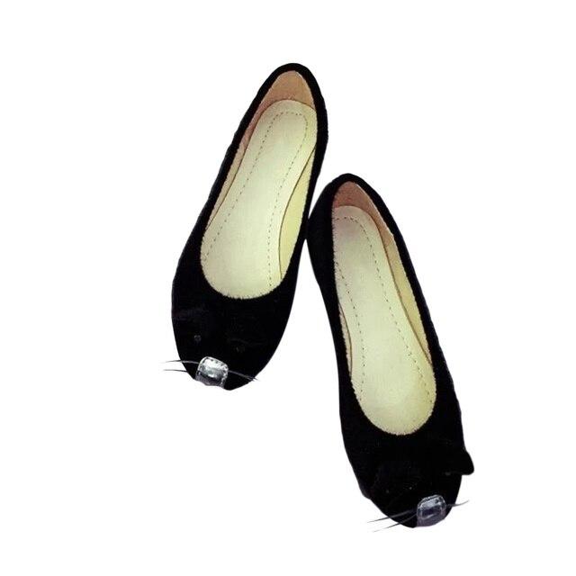 Отдых Повседневная Обувь Одного Обувь Вентиляции Корейский маленькая мышь Slip-on Flat Симпатичные Замши Мелкие Твердые Женщины Тотем