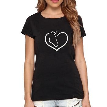 Nouveau mode amour coeur cheval T-shirt femmes à manches courtes col rond coton T-shirt filles femme vêtements t-shirts hauts