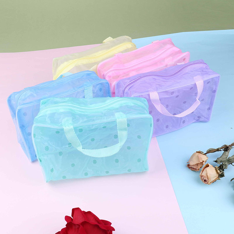 Clear Transparent PVC Travel Makeup Bag Cosmetic Toiletry Zip Bag Pouch