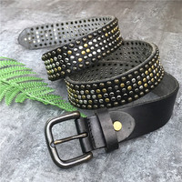 Metal Stud Rivet Jeans Men Belt Leather Belt Men Punk Belts For Women Ceinture Homme Male Strap Cowgirl Belt Woman MBT0523
