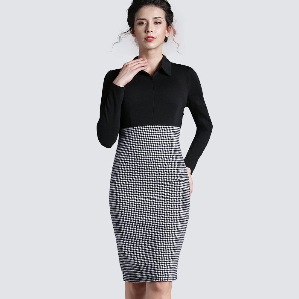 Women Vintage Black Plaid Patchwork Long Sleeve Bodycon Dress Casual Work  Office Business Sheath Fitted Formal c42be7e4ec29