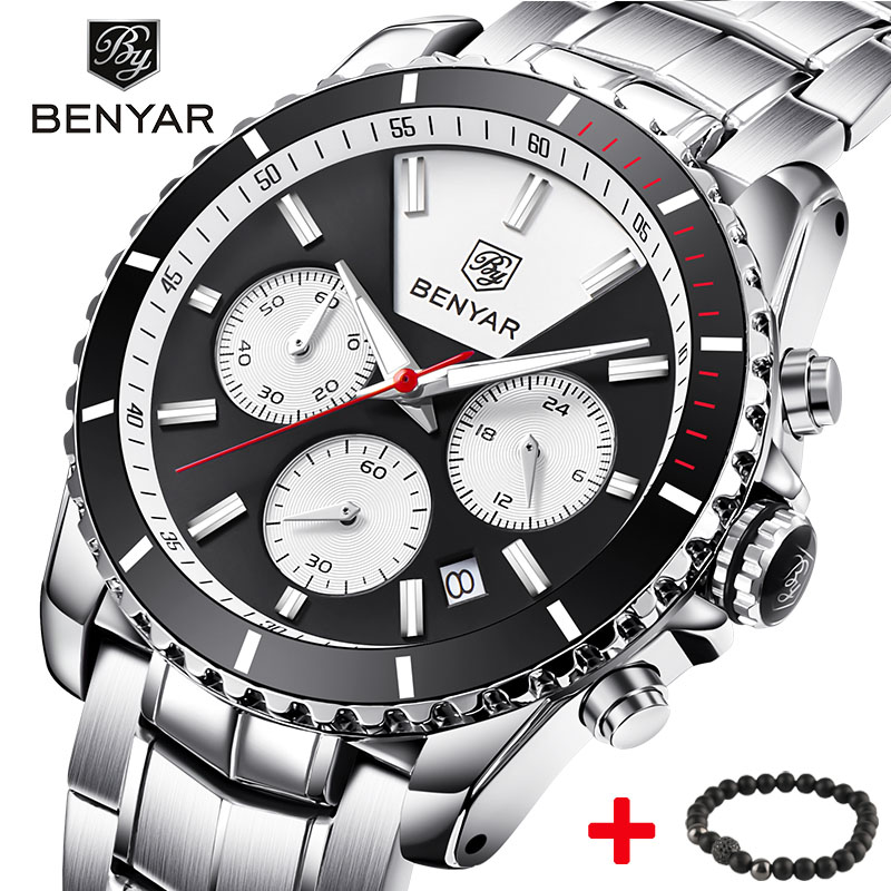 Top Brand BENYAR Men's Quartz Luxury Brand Wrist Watch Fashion Chronograph Sport Reloj Hombre Clock Male hour relogio Masculino xiaomi yeelight led ceiling pro 650mm rgb 50w work to mi home app and google home and for amazon echo for xiaomi smart home kits