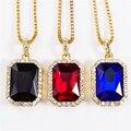 Геометрическая Ожерелье Bling Льдом Красный CZ Кулон Цепь Золотая покрытием Площади Красный Черный Синий RYBY Кулон 45''30 Цепи Подарок NYUK