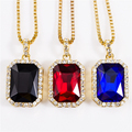 Geométrica Collar Bling Iced Out CZ Colgante Cadena de Oro Rojo Cuadrado plateado Rojo Negro Azul 45''30 RYBY Colgante Regalo de la Cadena NYUK