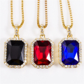 Geometric Necklace Bling Iced Out Red CZ Pendant Chain Gold Plated Square Red Black Blue RYBY Pendant 45''30 Chain Gift NYUK